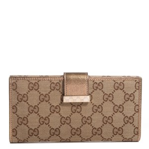 Gucci GG logo canvas, leather long clutch wallet , gold