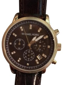 Michael Kors 110805 Brown Leather Band with Gold