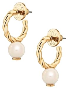 Tory Burch New! Tory Burch Rope Logo Bead Hoop Earring