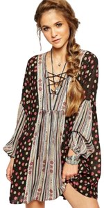 Free People short dress Longsleeve Floral Striped Tunic on Tradesy