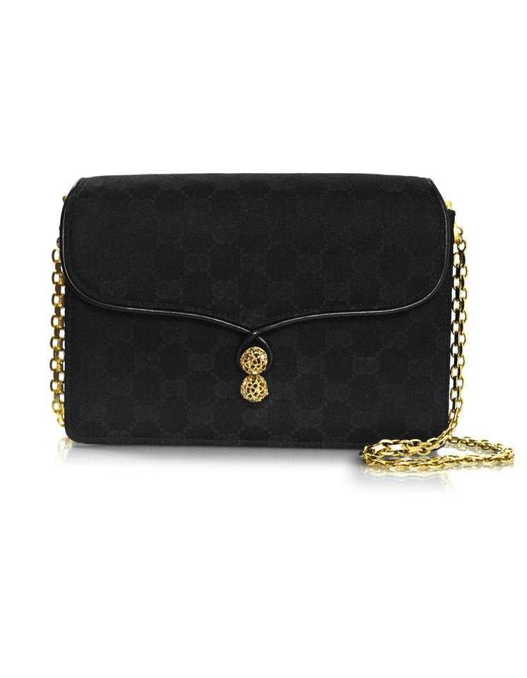930ca9f2635 Gucci Vintage Monogram Evening Clutch Black Satin Shoulder Bag - Tradesy