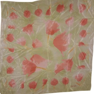 Escada New Old Stock 100 % SILK Peach Floral On ButterMint Background