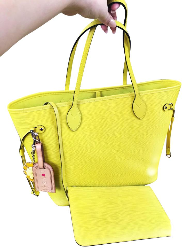 0a259610934e Louis Vuitton Neverfull Pouch Epi Lime Green Tote in Pistache Image 0 ...