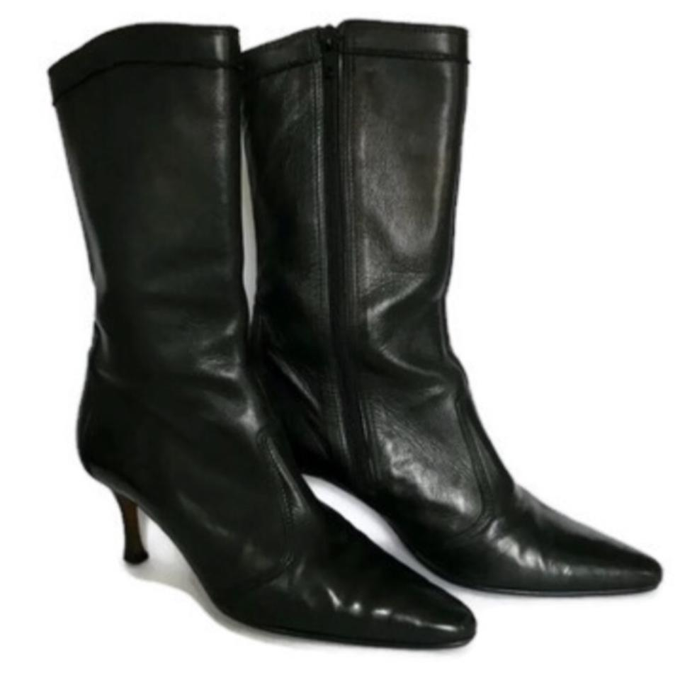 b7370c8f8c839 Manolo Blahnik Black Mid-calf Grained Leather Pointed Toe Boots/Booties