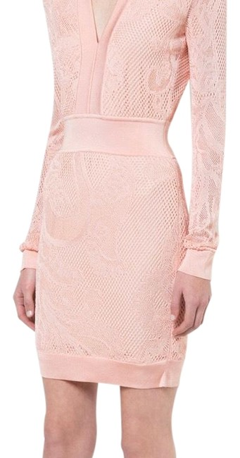 Item - Peach/Pink Pearl- Bead Embellish Short Cocktail Dress Size 8 (M)