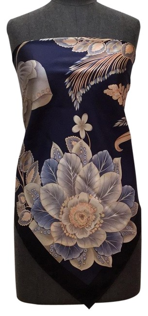 Item - Navy Black Ivory with Peach Taupes and Blues Silk Floral Printed Scarf/Wrap