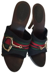 Gucci Horsebit Horsebit Horsebit Black with red & green accents Mules