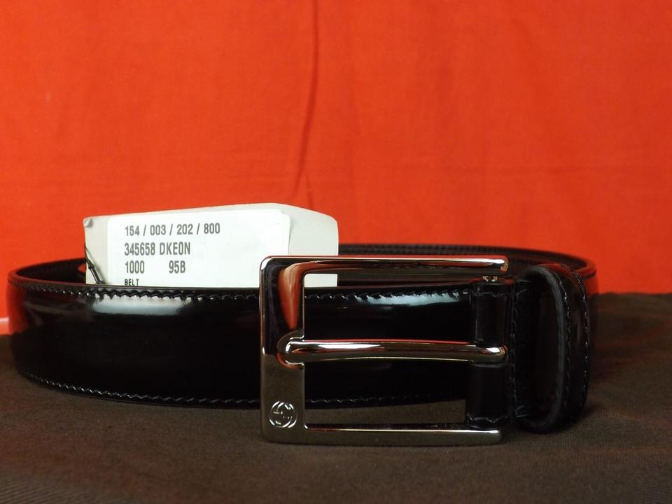 3a0af5221b6a38 Gucci Black Lux Patent Leather Gg Logo Square Buckle Belt 95 38  345658  Men s Jewelry Accessory. Size  ...