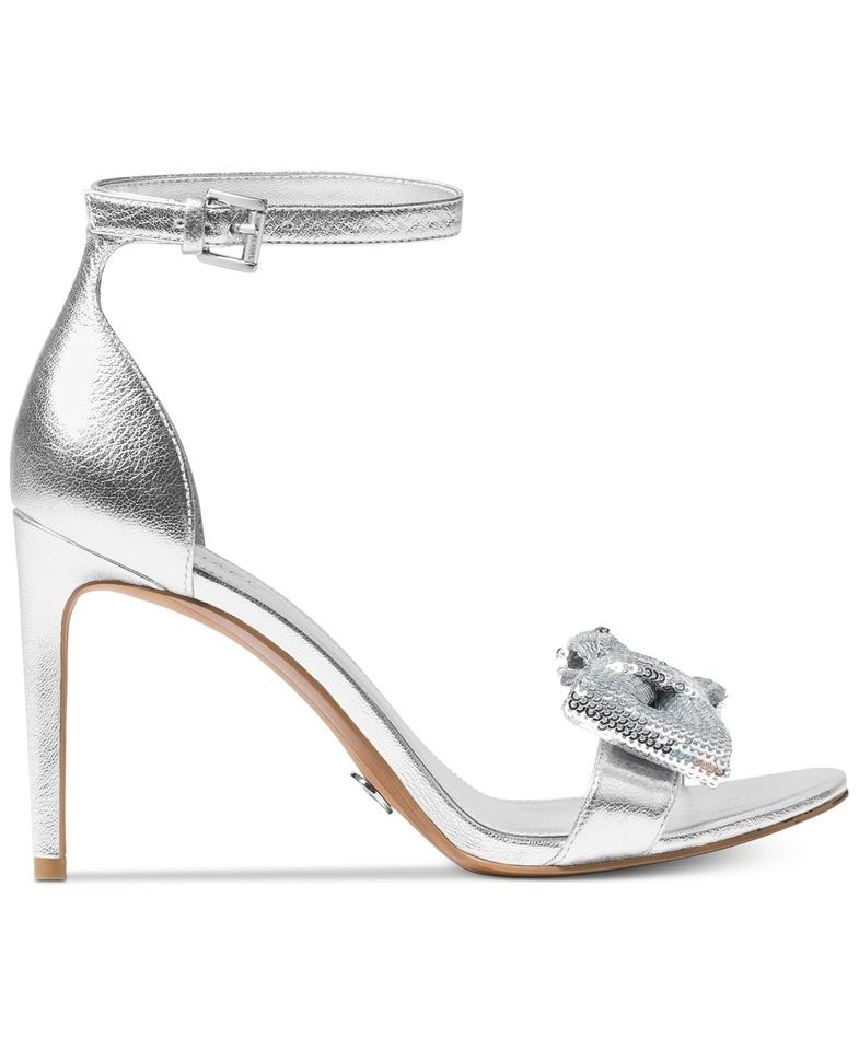 3ab77ce6a5e7f3 Michael Kors Silver Stunning Paris Open-toe Dress Leather Sandals ...
