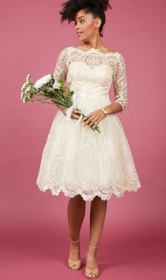 Modcloth Glided Grace Champagne Color Almost Gold Shell and Mesh ...