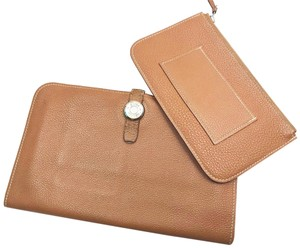 Hermès Hermes Dogon Brown Leather Wallet with Coin Pouch