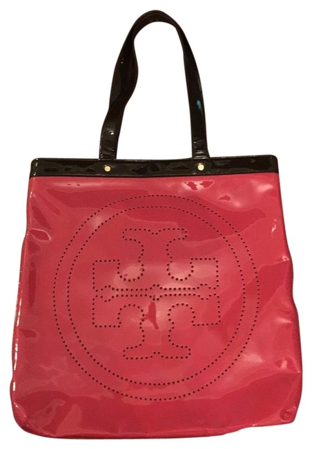 Item - T Pink and Brown Patent Leather Tote