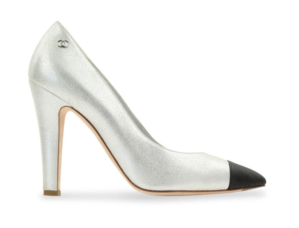 db4488809466 Chanel Silver Metallic Leather Pumps Size EU 38.5 (Approx. US 8.5 ...
