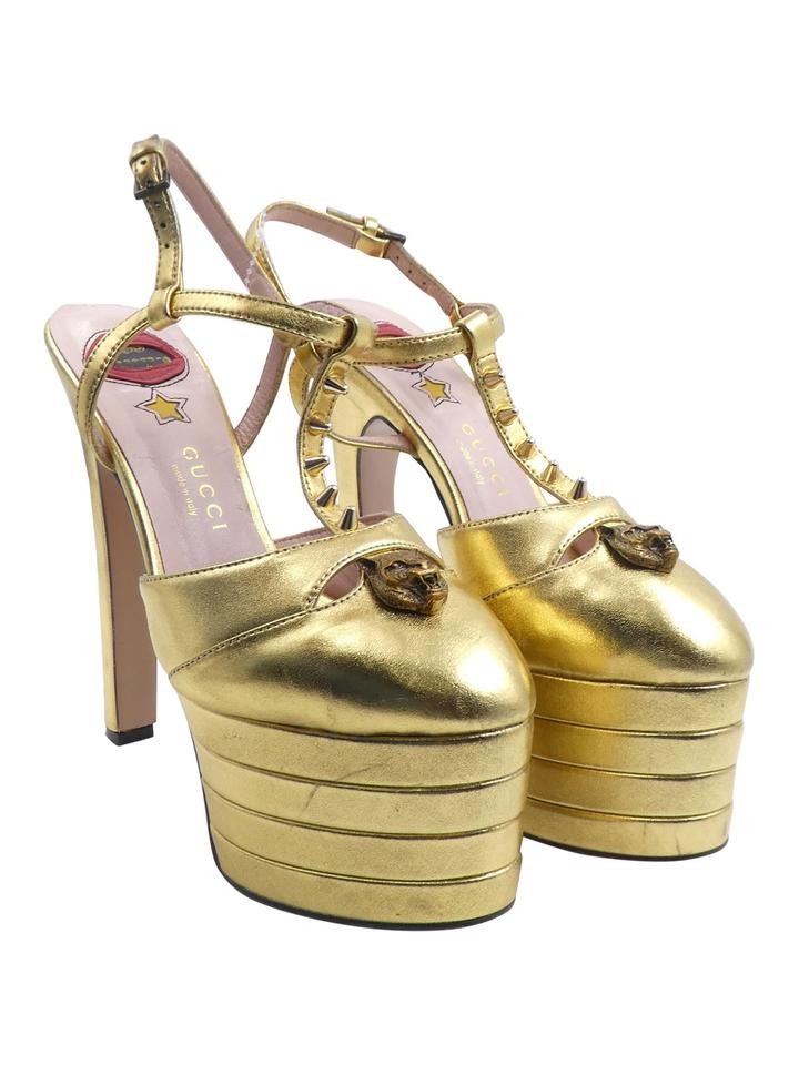 cf1a4a1b8d84 Gucci Gold Metallic Leather Angel Stacked Spiked Platform T-strap Heel Pumps