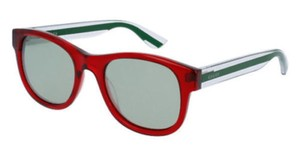 Gucci New Gucci Women Sunglasses GG0003S 004 Red Plastic Frame Grey Lens