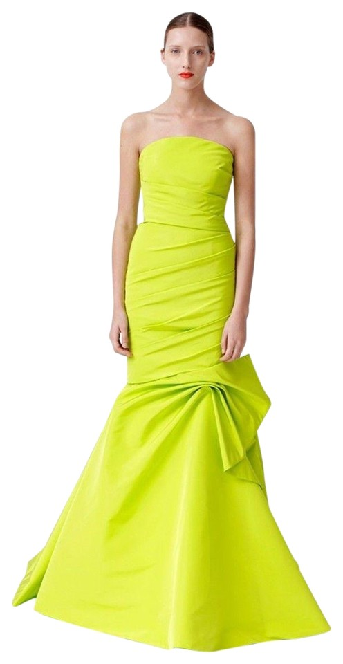 Monique Lhuillier Lime Green 4 Trumpet Evening Strapless Long Formal ...