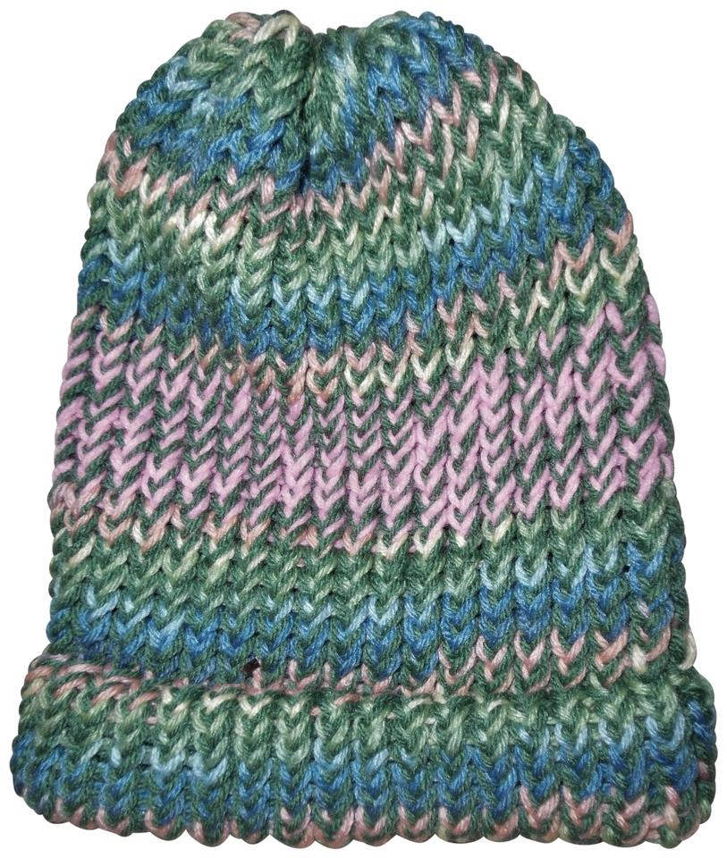 1047466cb Green Pink Blue Yellow Knitted Striped Beanie Hat