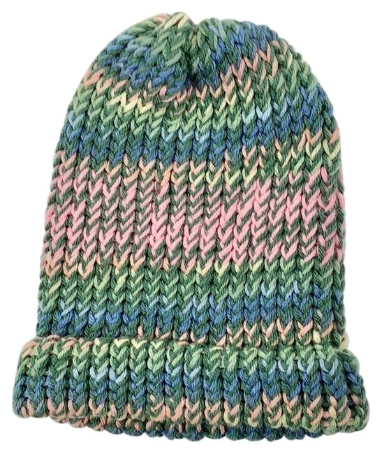 Item - Green Pink Blue Yellow Knitted Striped Beanie Hat