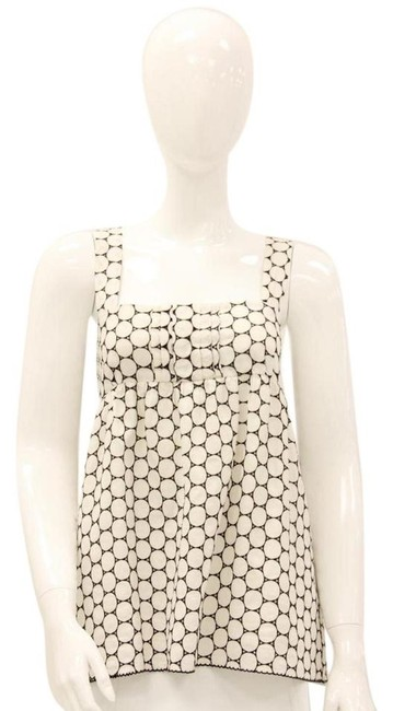 Item - White Brown Embroidered Blouse Size 8 (M)