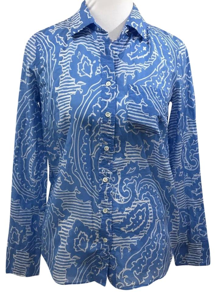 62cc3e39ab9a5 J.Crew Blue and White Boy Fit Floral Long Sleeve Silk Blend Floral New  Button-down Top. Size  0 ...