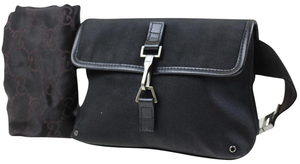 af945d462439ef Gucci Black Canvas with A Heavy Canvas Belt and Chrome Accents Bag/Fanny  Pack/Designer Wallet