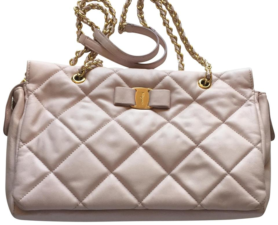 66fe7fd3e0d1 Salvatore Ferragamo Ginette Quilted Powder Pink Lambskin Leather ...