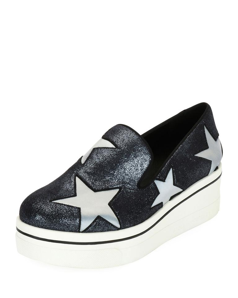 703f74010e24 Stella McCartney Silver Binx Stars Glittered Loafer Wedges. Size: EU 38 ...