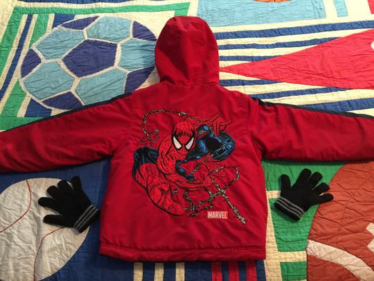 Marvel Official Marvel Comics SPIDERMAN Hooded Reversible Childs Parka (Size 7) and One-Size Childs Knit-Gloves [ TommiesCloset]