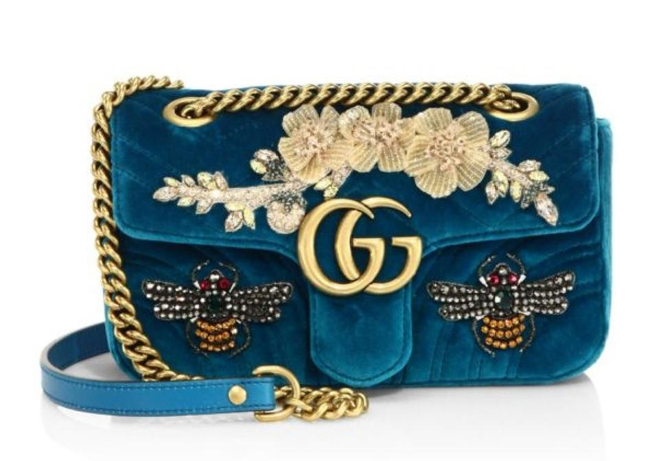 f230b3c17cf Gucci Marmont New Gg Mini Embroidered Velvet Shoulder Bag - Tradesy