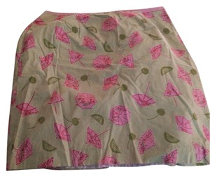 Lilly Pulitzer Summer Casual Fun Designer Pink Long Knee Length Bright Pink Green Light Pink Casual Skirt pink green