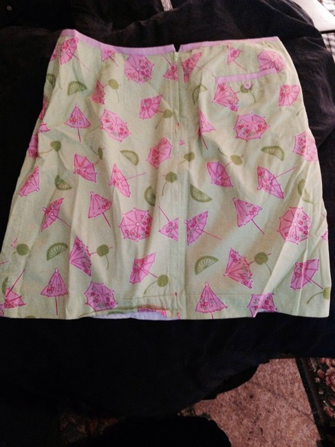 Lilly Pulitzer Summer Casual Fun Designer Long Knee Length Bright Light Casual Skirt pink green