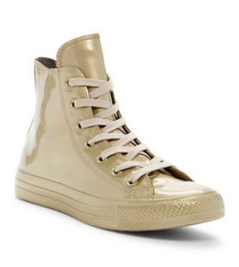 Converse Grip Sole Side Logo Accent Topstiched Detailing Lace Up Vamp Metallic Finish NIB-Light-Gold Athletic
