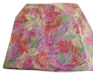 Lilly Pulitzer Reversible Wrap Sunmer Casual Designer White Orange Reversible Mini Skirt Pink green yellow