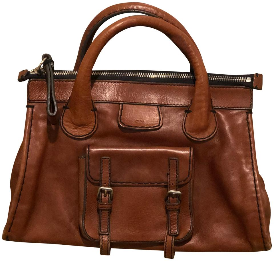 Chloé Brown Leather Satchel In Nutmeg