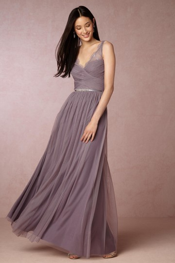 BHLDN Dusty Plum Tulle Fleur Feminine Bridesmaid/Mob Dress Size 4 (S) Image 0