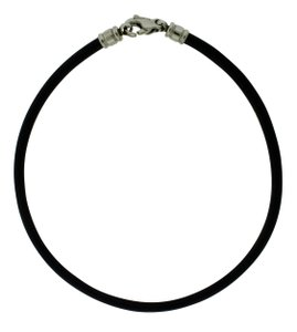 BVLGARI Steel Stainless Leather Cord 15.25 Inches Long Necklace
