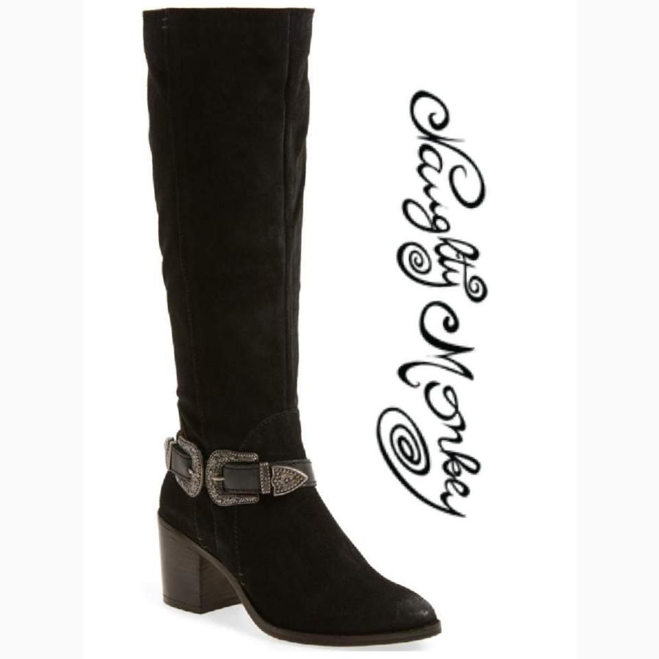 Naughty Monkey Black Suede with Silver Buckle Ankle Detail Natasha ... 013426c17f01