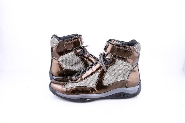 Item - * Metallic Brown Americas Cup Patent High Top Shoes