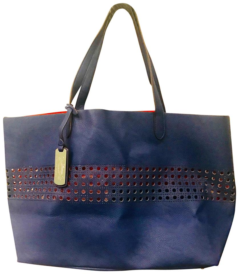 74131f9a14 Lauren Ralph Lauren Laser Cut Navy Blue Leather Tote - Tradesy