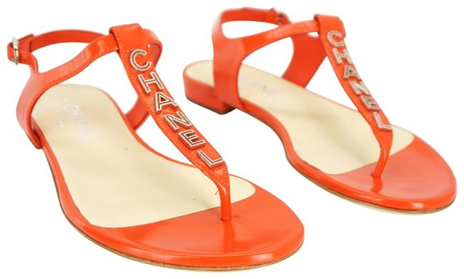 Item - Orange Red Leather Ankle Thong Cc Logo T Strap Beach Sandals Size EU 37 (Approx. US 7) Wide (C, D)
