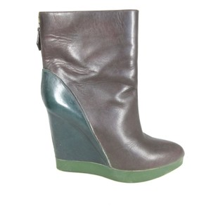 Jil Sander Leather Wedge Brown/Teal Boots