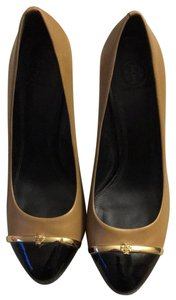 Tory Burch Camel/ black/ gold Platforms