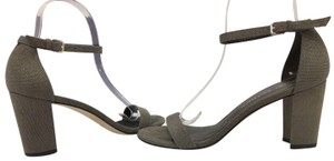 Stuart Weitzman High Ankle Strap Gray Suede Size 8 Fossil Bead Nappa Leather Sandals
