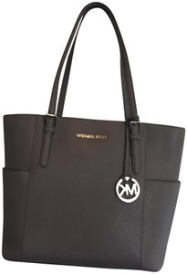 Michael Kors Leather Silver Hardware Tote in Dark Taupe