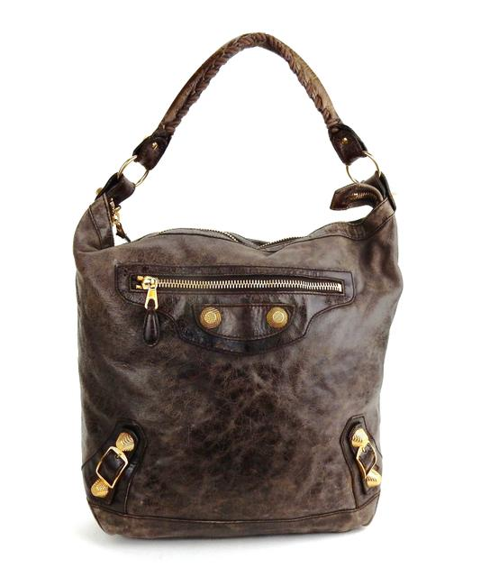 Item - Giant 21 Brown Lambskin Leather Shoulder Bag