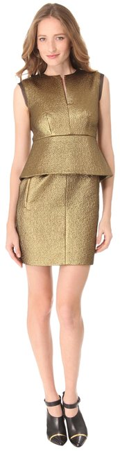 Item - Bronze Gold Dvf Delian Clean Jacquard Peplum Short Night Out Dress Size 4 (S)