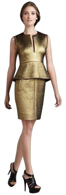 Item - Bronze Gold Dvf Delian Clean Jacquard Peplum Short Night Out Dress Size 6 (S)