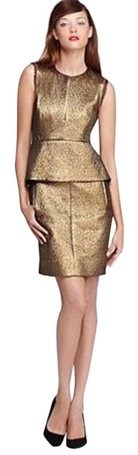 Item - Bronze Gold Dvf Delian Clean Jacquard Peplum Short Night Out Dress Size 0 (XS)