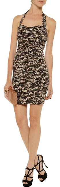 Item - Brown Stretch Silk Ruched Leopard Print Hildie Short Night Out Dress Size 2 (XS)