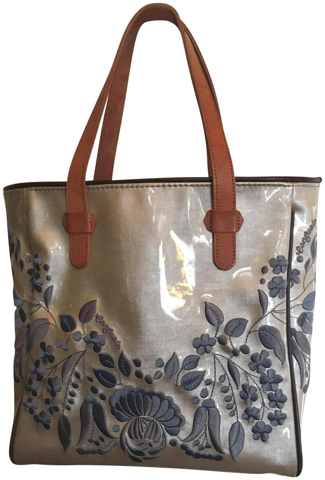 Consuela Vinyl Embroidered Leather Handles Tote In Taupe